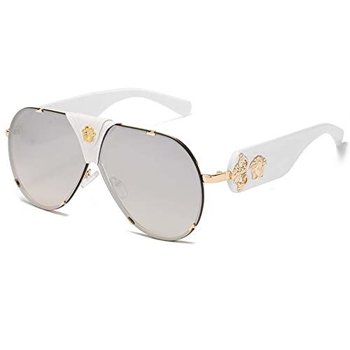 AMFG Gafas de sol retro Caja de cuero sin marco Gafas de sol Hombres y mujeres Viajes Visor Revestimiento de conducción (Color : H)