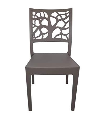 Sedia Teti, in Polipropilene, per Esterno ed Interno, Impilabile, qualità Super, Ordine Minimo 2 Pezzi (Tortora)