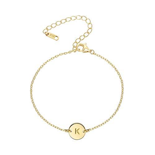 18K Gold Plated Stainless Steel Initial Bracelet Personalized Letter Charm Bracelet Small Dainty Disc Monogram Name Bracelet for Women (K 1)