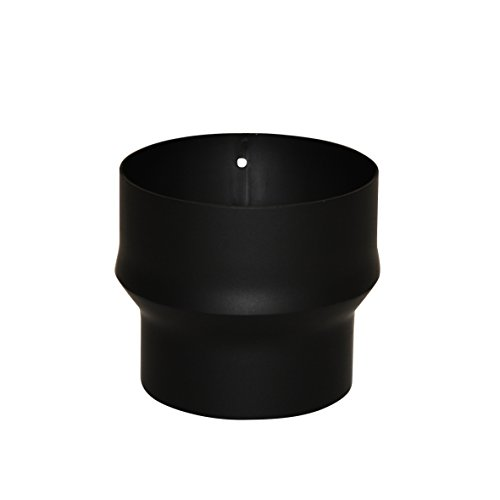 Kamino Flam 331823 Erweiterung, Rohrerweiterung aus Stahl, hitzebeständige Senotherm Beschichtung, geprüft nach Norm EN 1856-2, Schwarz, zum Anschluss von 120 mm in ein 150 mm Rohr