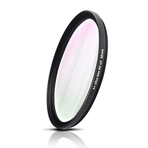 Filtro UV, Photography Filter, Vidrio óptico de Japón, Marco de Aluminio fresado CNC, Nano Coatings, Ultra-Slim, Weather-Sealed. para Nikon Sony Canon Fujifilm Olympus Tamron Sigma Pentax (58mm)