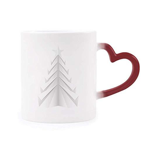 DIYthinker Weiß Abstrakte Weihnachtsbaum Origami Morphing Becher-Hitze-Sensitive rotes Herz-Cup Mehrfarbig