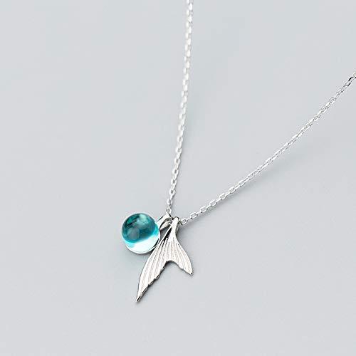 NNNDNDN Romantische Blaue Fischtränen Kristall Anhänger Halskette 925 Sterling Silber Für Frauen Hochzeitsliebhaber Freundin Schmuck Geschenk | Halsketten