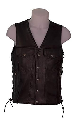 IGUANA CUSTOM CLOTHES Original chaleco negro premium en piel anilina (6XL)