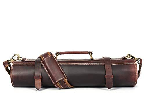 Leather Knife Roll Storage Bag, Elastic and Expandable 10 Pockets, Adjustable/Detachable Shoulder Strap, Travel-Friendly Chef Knife Case (Leather - Dark Brown)
