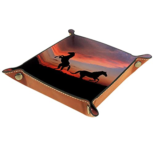 Yumansis Bandeja plegable de cuero de la PU para el reloj joyería almacenamiento caso titular caballo silueta atardecer 16x16cm