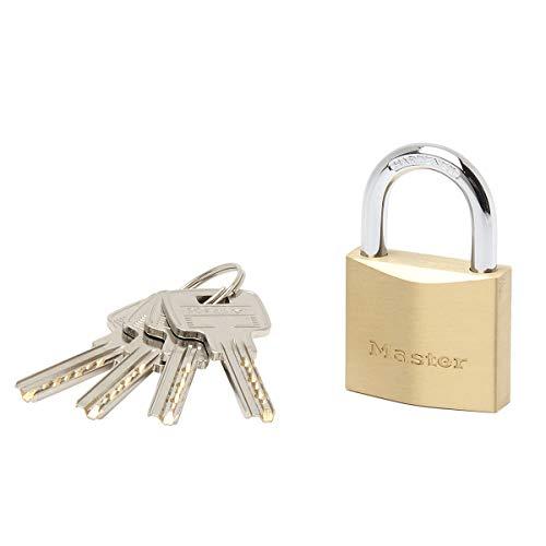 Master Lock 2940EURD Schlüssel Vorhängeschloss aus extradickem Massivmessing, Gold, 6,2 x 4 x 1,6 cm
