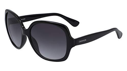 Calvin Klein Women's CK19538S Square Sunglasses, Black/Grey, 59 mm