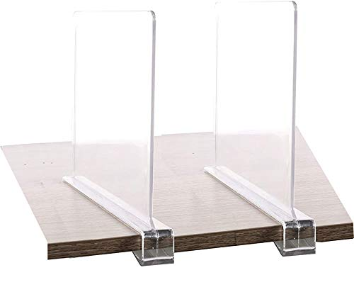 2PCS Multifunction Acrylic Shelf Dividers,Closets Shelf and Closet Separator for Wood Closet,Only Need to Slide to Adjust The Appropriate Distance
