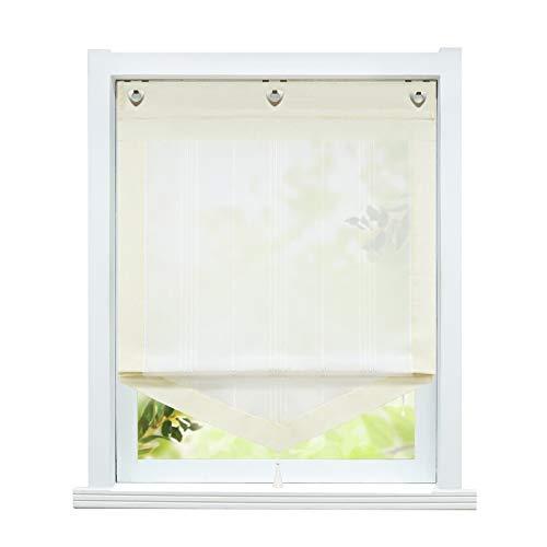ESLIR Estor sin taladrar, cortinas de cocina, rústico, cortinas con ojales, cortina transparente de lino beige, 45 x 140 cm, 1 pieza