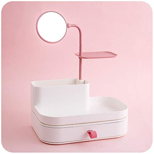 Espejo de Maquillaje, Breve Caja de Almacenamiento de Maquillaje para el hogar, Organizador de cajones con Espejo Estante de Almacenamiento de plástico para Mantener su tocador más ordenado-A 27x19x3