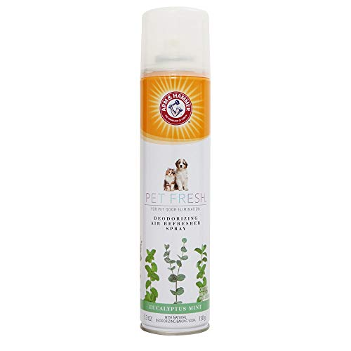 Arm & Hammer For Pets Fresh Deodorizing Aerosol Air Refresher Spray | 5.3 oz Eucalyptus Pet Odor Eliminator Spray with Natural Deodorizing Baking Soda | Refreshing Odor Eliminating Spray for Pet Odors