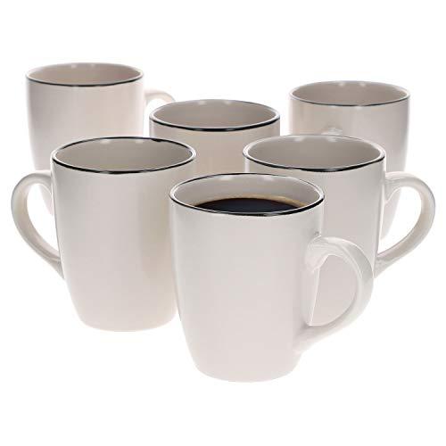 Van Well 6er Set Kaffeebecher Campo Creme | 430 ml | 6 Personen | XL-Pott | Kaffeebecher | edle Porzellantassen | Jumbotassen | Mug | Gastro