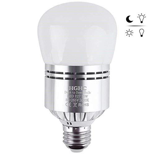 Bombilla de Sensor LED, E27 15W Bombilla LED Blanco Cálido Bombilla Crepuscular Led Automático, 3000K para Pasillo Garaje Escaleras Jardín Patio Pasillo Porche