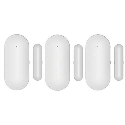 VANOLU Sensor de Puerta de Ventana de 3 Juegos para Todos los Sensores de Espacio Inteligente de Seguridad de Alarma InaláMbrica para el Hogar de 433 Mhz para Detectar Puertas Abiertas