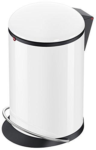 Hailo Harmony M, Mülleimer aus Stahlblech, 12 Liter, breite Metall-Fußreling, Müllbeutel-Klemmung, Deckeldämpfung (Soft Close), weiss, Made in Germany, 0515-030