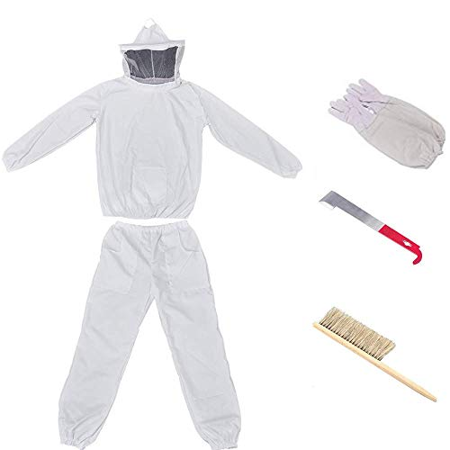Beekeeping Suit for Beekeeper Bee Suit Beekeeping Jacket with Veil and Pants Beekeeping Protective Suit with Bee Gloves, Brush and Beehive Tools