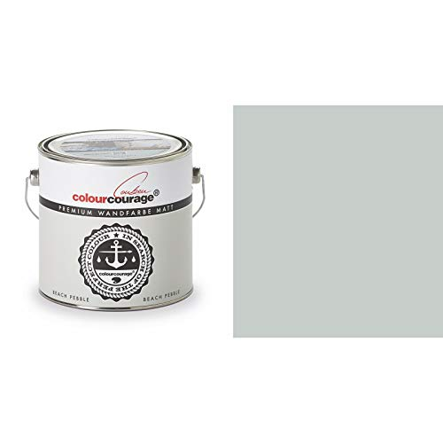 2,5 Liter Colourcourage Premium Wandfarbe Beach Pebble Grau | L709449572 | geruchslos | tropf- und spritzgehemmt