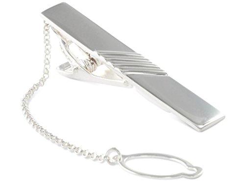 BROOKE Krawattenklammer / Krawattennadel mit Kette Silber