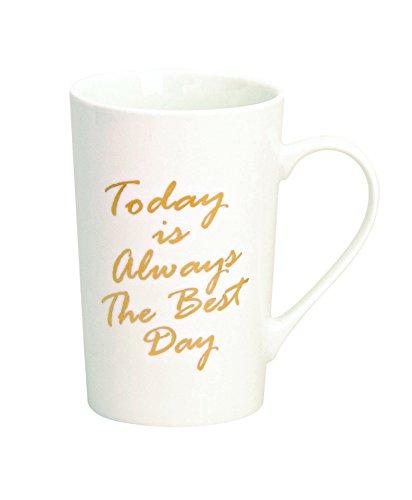 GW GmbH Tasse Sprüche Gold weiß schwarz Kaffeetasse Becher Kaffeebecher Teetasse ausgefallen modern Spruch Geschenk (Today is Always The Best Day)