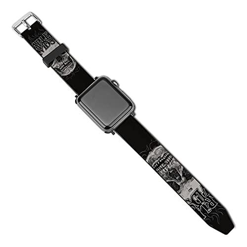 Harley Davidson Light Apple Watch Band – Correa de piel para iWatch compatible con correas de cuero para Apple Watch Series 5/4/3/2/1/SE (38 mm/40 mm)