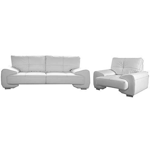 Polstergarnitur Sofa Set 3er Wohnlandschaft 3-Sitzer mit Sessel Möbel Set - Florida (Weiß)