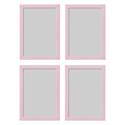 Ikea - Set di 4 cornici portafoto Fiskbo, colore rosa, formato A4, 21 x 30 cm