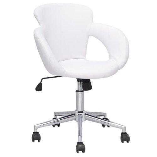 SixBros. Bürostuhl Moderner Schreibtischstuhl, Stabiler Sternfuß, Drehstuhl mit Stufenloser Höhenverstellung, Kunstleder PU Weiß M-65335-1/725