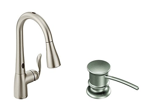 Moen Arbor Motionsense Two-Sensor Touchless One-Handle High Arc Pulldown Kitchen Faucet Featuring Reflex, Spot Resist Stainless (7594ESRS) with Kitchen Soap and Lotion Dispenser