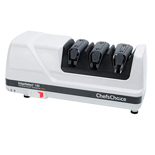 Chef'sChoice Hone EdgeSelect Professional Electric Knife Sharpener for 20-Degree Edges Diamond Abrasives Precision Guides for, Straight and Serrated Knives Made in USA, 3-Stage, White