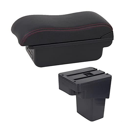 Reposabrazos de coche para Hyundai Solaris 2013 2014 2015 2016 para VERNA Accent Car Reposabrazos Box Almacenamiento USB LED Consola central (color B1 negro rojo 3USB)