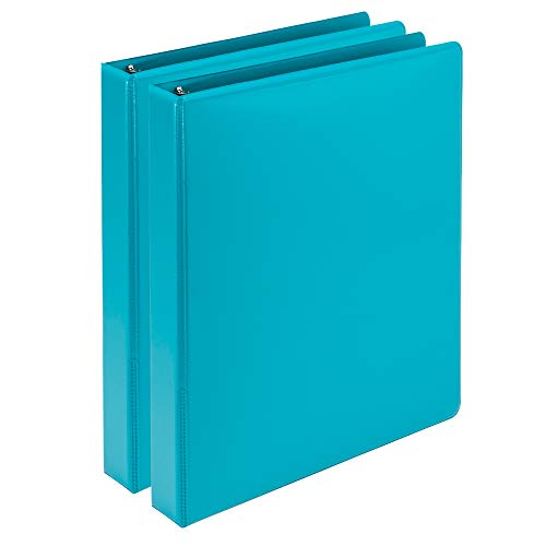 Samsill Earth's Choice Biobased Durable Fashion Color 3 Ring View Binder, 1 Inch Round Ring, Up to 25% Plant Based Plastic, USDA Certified Biobased, Turquoise, Value Two Pack
