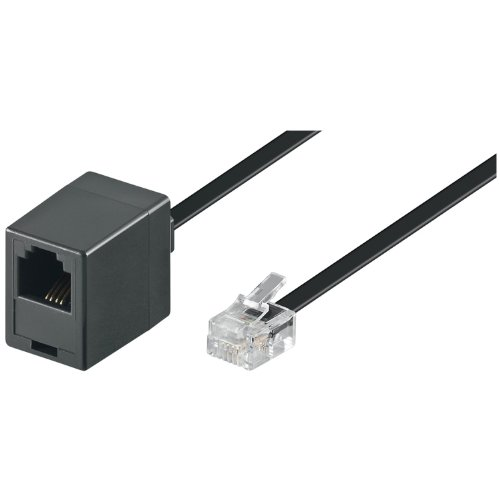 Wentronic 6m RJ-11Kabel 6m schwarz Telefon Kabel–Cables-Telefon (RJ-11M, RJ-11FM)