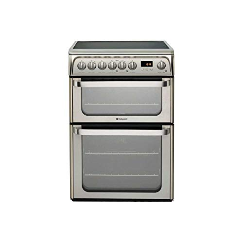 Hotpoint HUE61X Ultima 60cm Double Oven Electric Cooker with Ceramic Hob - Stainless Steel