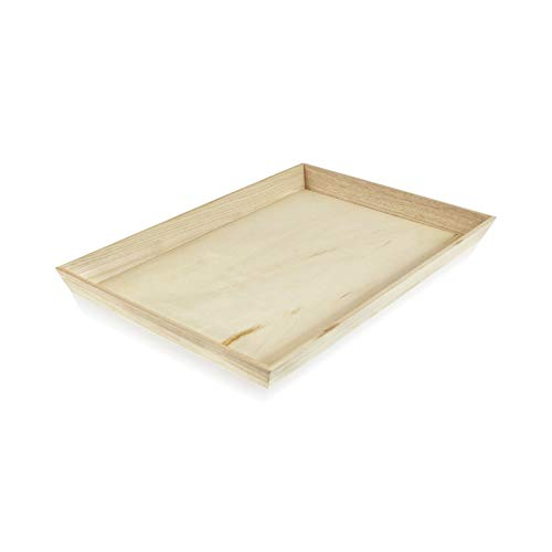 Noah39 Heavy Duty Wooden Tray (Case of 10), PacknWood - Biodegradable Serving Wood Table Trays (17' x 13' x 1.5') 210WOODTRAY39