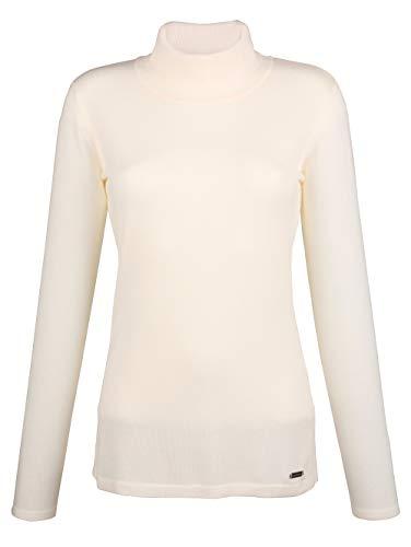 Amy Vermont Damen Rollkragenpullover Langarm mit Rollkragen in Off-white aus Viskose in taillierter Form