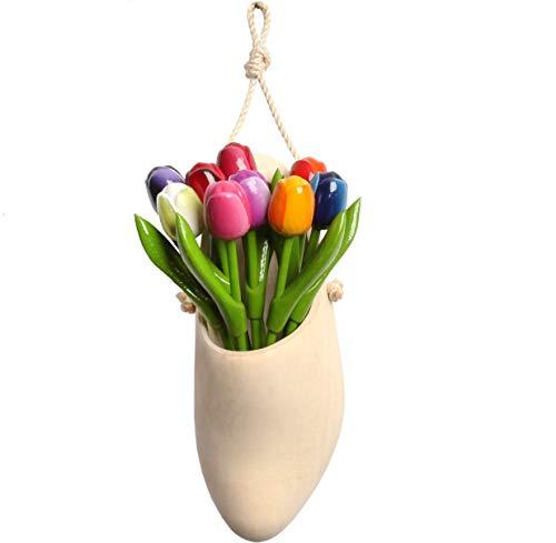 Bouquet di tulipani in legno di alta qualità in pantofole di legno olandesi (zoccolo), 9 tulipani dipinti a mano alti 21 cm, bouquet di fiori, decorazione, regalo per le donne, Made in Holland