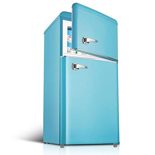 FSGHJJKN 118L Compacto Mini refrigerador Separado del congelador, Nevera pequeña Doble 2-Ajustable de la Puerta silencioso de Acero...