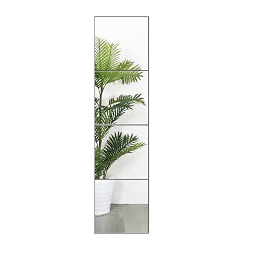 FANYUSHOW Full Length Tall Mirror Tiles - 14 Inch x 4Pcs Frameless Wall Mirror Set HD Vanity Make Up Mirror for Wall Decor