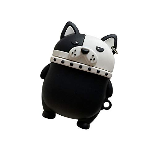 Rertnocnf 3D Cute French Bulldog Design Airpods Case Creavive Strong Fat Dog Animal Wireless Earphone Soft Silicone Anti-Scratch Shockproof Protector for Airpods 1 & 2 with Carabiner Black