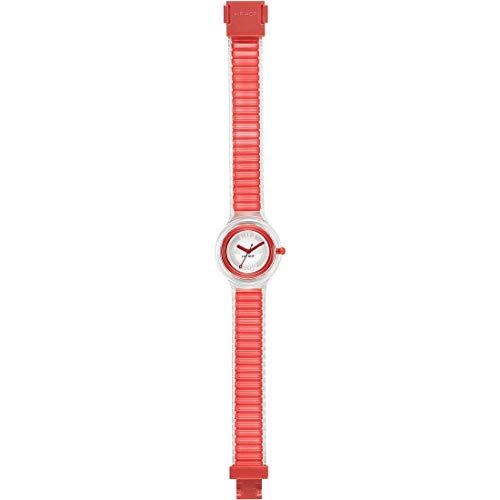 Orologio HIP HOP donna SHEER COLORS quadrante bianco e cinturino in poliuretano rosso, movimento SOLO TEMPO - 3H QUARZO
