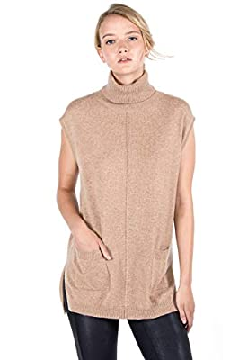 JENNIE LIU Women's 100% Pure Cashmere Sleeveless Turtleneck Hi-Lo Tunic Sweater(S, Camel) from