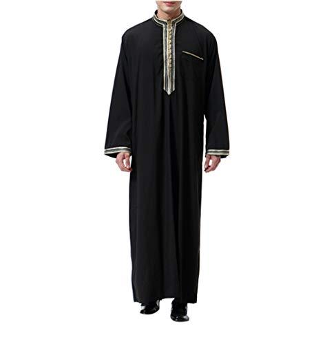 KRUIHAN Abaya Männer Muslimische Kleider Kaftan - Islamische Kleidung Herren Islamische Kostüm (Schwarz,M)
