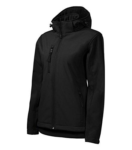 OwnDesigner by Adler - Chaqueta de softshell ligera con capucha para mujer, resistente al viento, impermeable y transpirable, entallada, color negro, tamaño extra-large