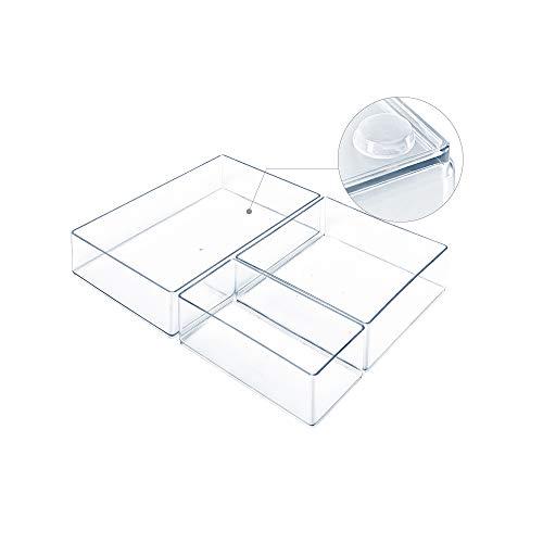 Lilly Things ANTIRUTSCH Schubladen Ordnungssystem (transparent) Schubladen Organizer Schubladeneinsatz Aufbewahrungsbox für Make-Up Kosmetik Schminktisch Schreibtisch Büro Bad Küche (3-teilig A)