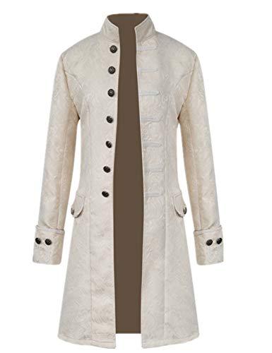 Crubelon Men's Steampunk Vintage Tailcoat Jacket Gothic Victorian Frock Coat Uniform Halloween Costume (L, White)