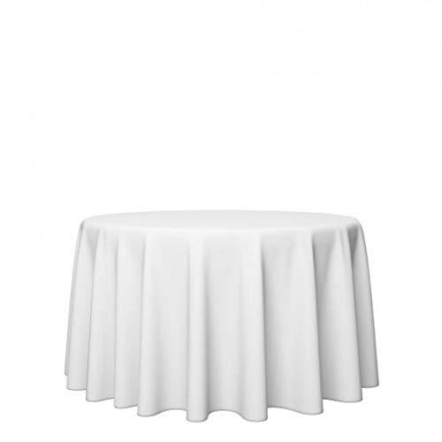 Gastro Uzal Damast Tischdecke Größe wählbar - Gastro Edition Weiss Rund Sanforisiert Tischdecke aus 100% Baumwolle (Ø 160 cm)