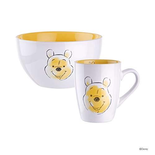 BUTLERS Disney Müslischale und Kaffee mit Winnie Pooh Design - Frühstücks-Schale und Kaffee-Becher Motiv Winnie Pooh in Weiß-Pastellgelb
