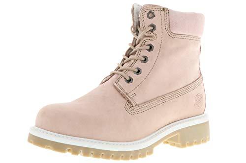 Klondike Damen Winterstiefel Stiefeletten Boots Echtleder Warmfutter rosa/Altrosa, Größe:36, Farbe:Rosa
