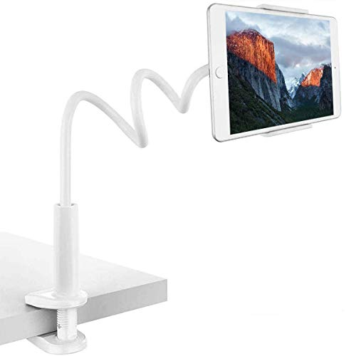 BENKS Gooseneck Tablet Holder, Universal Tablet Stand with 360 Flexible lazy Arm Holder Clamp Mount for iPad Air Pro mini 9.7, 10.5, 11, iPhone, Samsung Tab, Nintendo Switch, 4-11' Devices - White